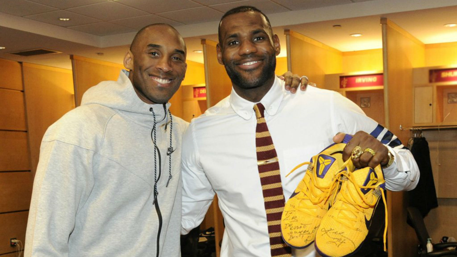 3798eff19593 Bryant signed his game-worn Kobe 11s for LeBron James in February following  their final matchup in Cleveland. Image via  nikebasketball.